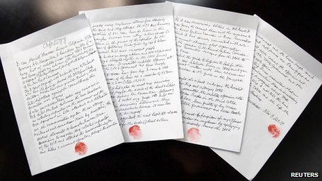 """A four-page document titled """"Apology"""" with the name of US citizen Merrill E. Newman and dated 9 November 2013 is seen in this undated photo released by North Korea's Korean Central News Agency (KCNA) in Pyongyang on 30 November 2013"""