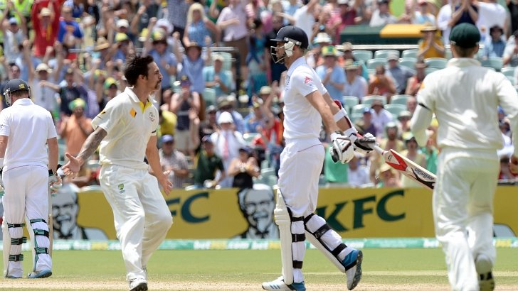 Mitchell Johnson gestures to James Anderson