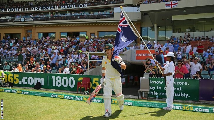 David Warner walks out to bat