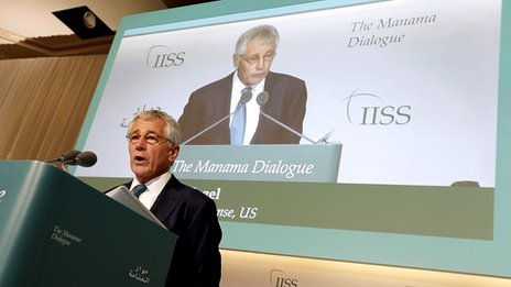 Chuck Hagel at the regional security summit the Manama Dialogue, Bahrain. 7 Dec 2013