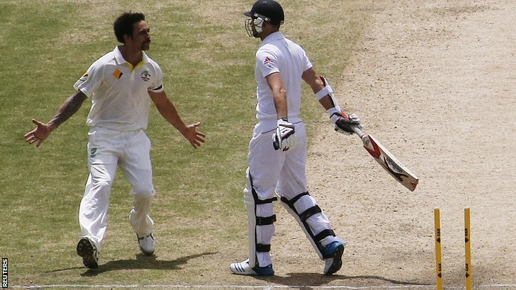 Mitchell Johnson bowls James Anderson