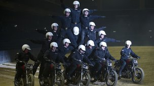 The Royal Signals White Helmets at a dress rehearsal for the British Military Tournament 2013