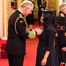 Jasvinder Sanghera being awarded her CBE by Prince Charles
