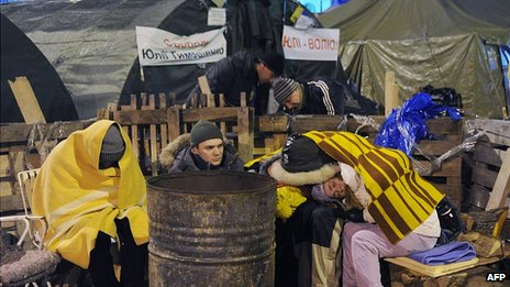 Pro-EU protesters in Kiev. 7 Dec 2013