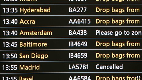 Departure board at Heathrow