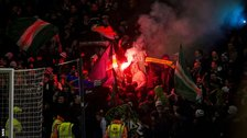Celtic fans released flares at Fir Park