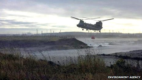 Chinook helicopter at Seal Sands on Teesside
