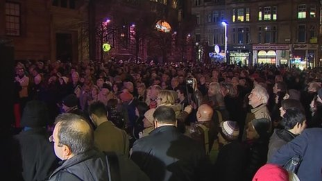 People gathered in Glasgow for Nelson Mandela vigil