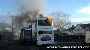 Bus on fire on Perry Common Road
