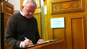 Deputy First Minister Martin McGuinness was one of a number of political figures who signed the book of condolence in Londonderry