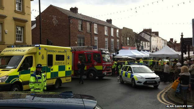 Police, ambulance and fire crews were called to the scene