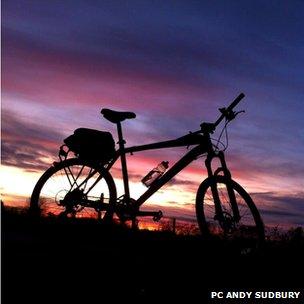 Sun setting in Derbyshire with a bike in the foreground