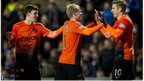 Dundee United players celebrate