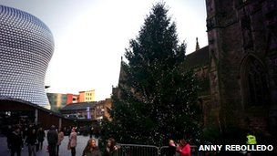 Christmas tree in Birmingham city centre
