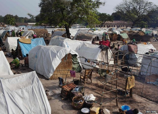 Tents for displaced people beside Saint Antoine de Padoue cathedral in Bossangoa, 25 November