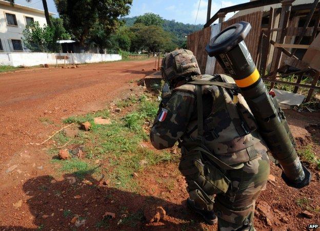 French army patrol in Bangui, Central African Republic, 7 Dec 2013