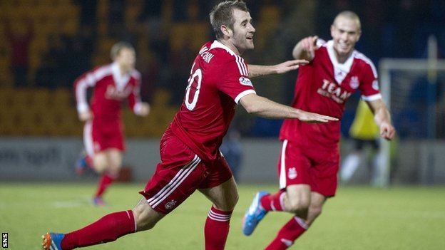 Niall McGinn scores for Aberdeen