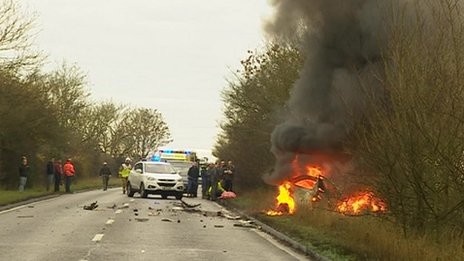 Car fire on A140, Suffolk