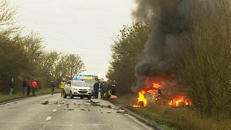 Car fire on A140, Suffolk