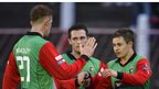 Glentoran goal-scorer Jordan Stewart is congratulated by his team-mates at the Oval