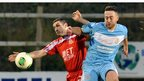 Portadown defender Keith O'Hara in action against Ballymena United's Shane Dolan at Shamrock Park