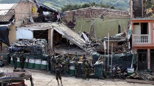 Destroyed police station in Inza Colombia