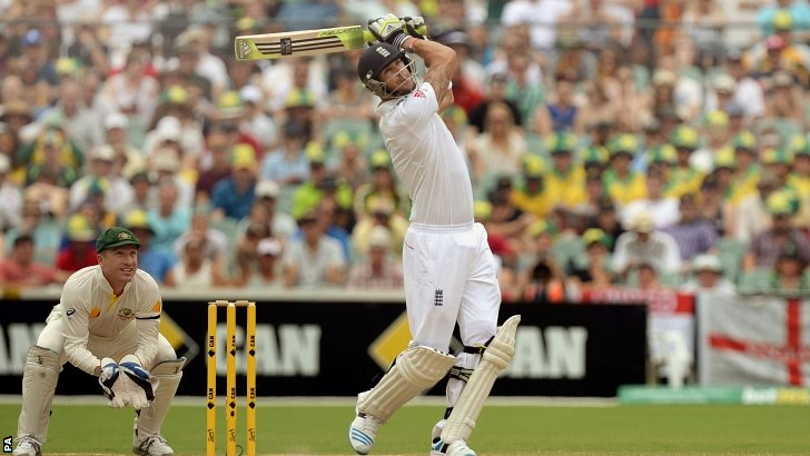 Kevin Pietersen hits the 18th six of the match