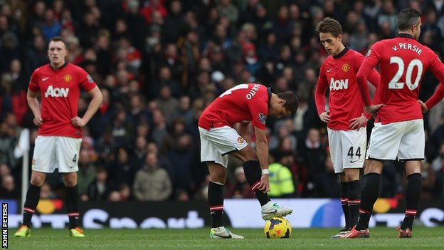 Manchester United players look despondent