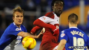 Dan Burn of Birmingham City and Kei Kamara of Middlesbrough in action during the 2-2 draw