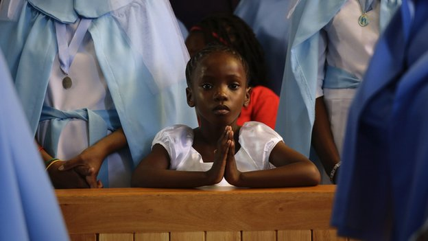 Girl praying in South Africa