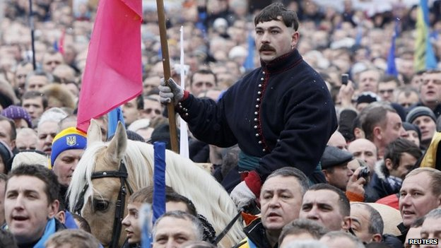 A man on a horse at the rally on Independence Square.