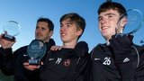 Jackie McNmara, Ryan Gauld and Andrew Robertson with their awards