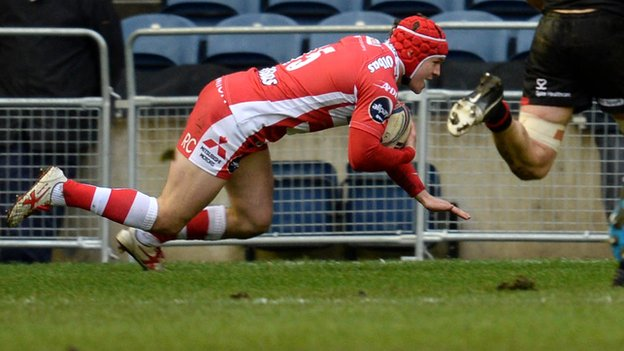 Rob Cook scores Gloucester's first try at Murrayfield