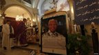 Poster of Nelson Mandela in a church in Ramallah, West Bank (8 Dec 2013)
