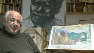 Artist Harold Riley with the Nelson Mandela drawing