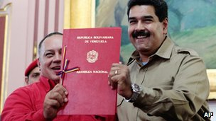 Nicolas Maduro holds documents allowing him to rule by decree. 19 Nov 2013