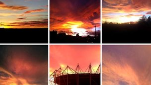 Photos of the sunset over Derby