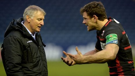 Edinburgh coach Alan Solomons and centre Nick De Luca