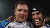 Michael Swift and John Muldoon celebrate Connacht's remarkable win in Toulouse