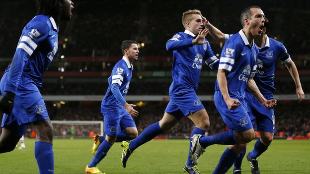 Gerard Deulofeu celebrates his equaliser at Arsenal