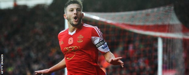Southampton midfielder Adam Lallana