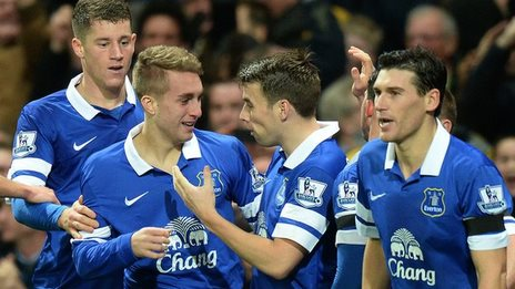 Everton celebrate their equaliser at Arsenal