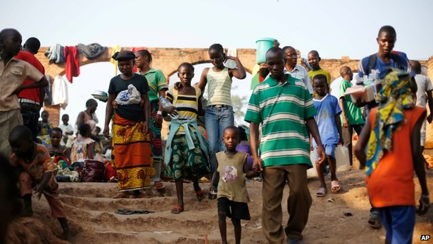 Displaced Christians at a monastery in Bangui (8 Dec 2013)