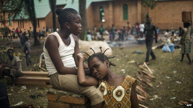 Children sheltering in garden of Archbishop of Bangui