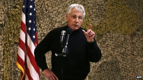 US Secretary of Defence Chuck Hagel speaks to US troops in Afghanistan