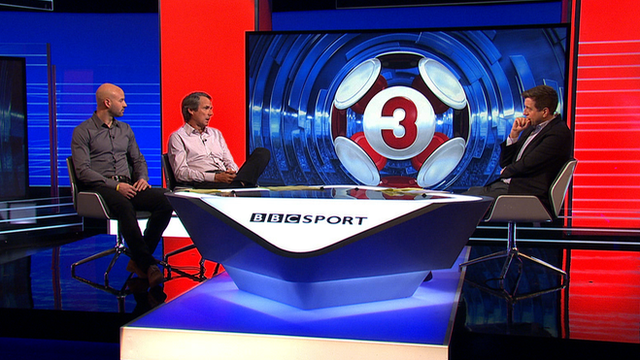 Danny Mills, Alan Hansen and Mark Chapman in the Match of the Day studio