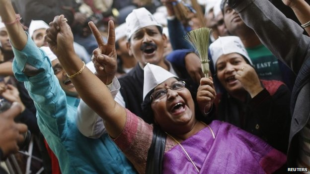 Aam Aadmi Party supporters in Delhi