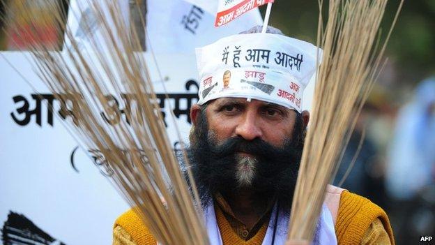 Aam Aadmi Party supporter in Delhi