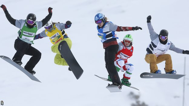 Zoe Gillings (second from left) competing in Montafon