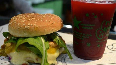 Hareburger burger and juice